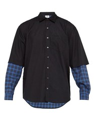 Vetements Layered Ghost Print Cotton Shirt Black Blue
