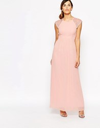 Elise Ryan Pleated Maxi Dress With Lace Sleeve Pink