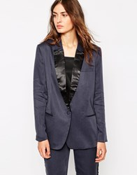 Selected Storm Blazer With Black Lapel Blue