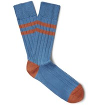 The Workers Club Varsity Striped Combed Cotton Blend Socks Light Blue