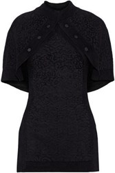 Brandon Maxwell Woman Cape Back Button Detailed Metallic Jacquard Knit Top Black