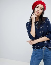 Sugarhill Boutique Addi Bird Print Top Navy
