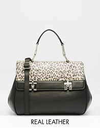 Ri2k Leather Bag With Leopard Print Pony Hair Panel Blackbrown