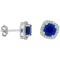 Jools By Jenny Brown Pave Surround Cushion Square Cubic Zirconia Stud Earrings Saphire