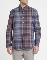 Polo Ralph Lauren Blue Green Burgundy Checked Twill Custom Fit Shirt