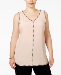 Alfani Plus Size Studded Sleeveless Tunic Blouse Only At Macy's Silver Peony