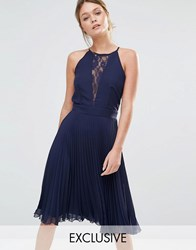 Elise Ryan Pleated Midi Dress With Lace Insert Navy