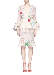 Johanna Ortiz 'Vittoria' Embellished Floral Eyelet Lace Dress Multi Colour