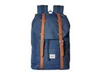 Herschel Retreat Mid Volume Navy Tan Synthetic Leather Backpack Bags