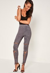 Missguided Grey Eyelet Knee Lace Up Detail Leggings