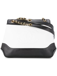 Chanel Vintage Cc Logos Chain Shoulder Bag White