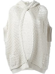 Brunello Cucinelli Chunky Knit Hooded Cardigan Nude And Neutrals