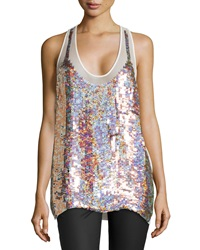 Stella Mccartney Sequined Silk Racerback Tank