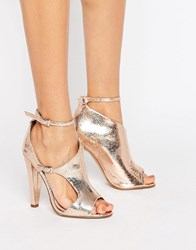 Little Mistress Asymmetric Heel Sandal Rose Gold Copper
