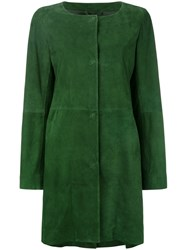 Herno Single Breasted Coat Women Lamb Skin Polyester Acetate 46 Green