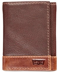 Levi's Colorblocked Tri Fold Leather Wallet Mid Brown Tan