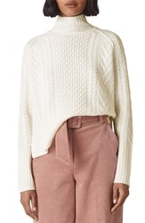 Whistles Funnel Neck Cable Wool Sweater Ivory