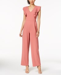 Ivanka Trump Ruffled V Neck Jumpsuit Rose