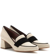 Tabitha Simmons Margot Suede Trimmed Canvas Pumps Beige