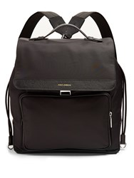 Dolce And Gabbana Leather Trimmed Canvas Backpack Black
