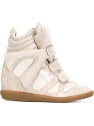 Isabel Marant 'Beckett' Concealed Wedge Hi Top Sneakers Nude And Neutrals