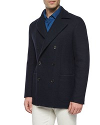 Loro Piana Double Breasted Cashmere Pea Coat Dark Blue Women's