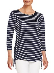 Saks Fifth Avenue Side Lace Up Striped Top Navy