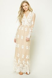 Forever 21 Embroidered Maxi Dress Nude Cream