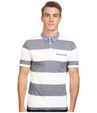 Original Penguin Birdseye Auto Stripe W Chambray Collar Bright White Men's Short Sleeve Pullover
