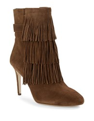 Via Spiga Vesta Suede Fringe Booties Tan