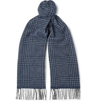 Drakes Drake's Prince Of Wales Checked Wool And Angora Blend Scarf Storm Blue