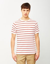 The Idle Man Breton Stripe T Shirt White And Red