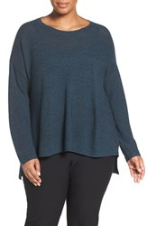 Eileen Fisher Plus Size Women's Ballet Neck Fine Merino Wool Sweater Fir