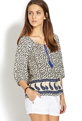 Forever 21 Pop Of Paisley Peasant Top Cream Periwinkle