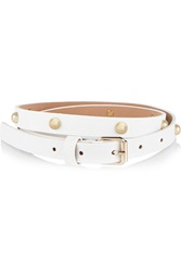 Red Valentino Studded Leather Skinny Belt White