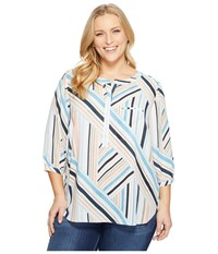 Nydj Plus Size Solid 3 4 Sleeve Pleat Back Beachfront Stripe Corsica Blue Women's Long Sleeve Button Up Multi