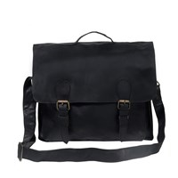 Mahi Leather Messenger Satchel Briefcase School Work Bag In Ebony Black