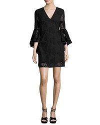 Milly Nicole Bell Sleeve Embroidered Cotton Shift Dress Black