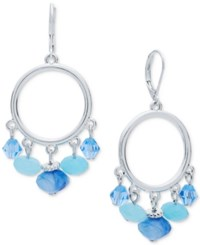 Nine West Silver Tone Blue Bead Orbital Drop Earrings