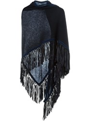 Antonia Zander Fringed Shawl Blue