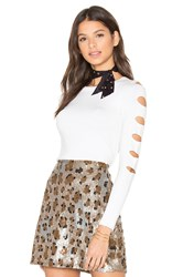 Central Park West Palm Springs Cut Out Sweater White