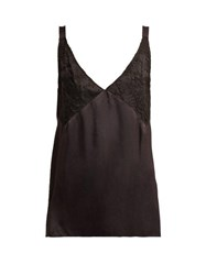 Icons Orchid Lace Panel Silk Camisole Black