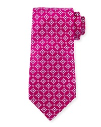 Charvet Diagonal Square And Dot Print Silk Tie Magenta