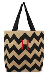Cathy's Concepts Personalized Chevron Print Jute Tote Grey Black Natural H