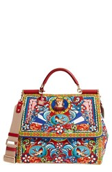 Dolce And Gabbana 'Large Miss Sicily' Carretto Print Top Handle Canvas Satchel