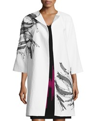 Josie Natori 3 4 Sleeve Textured Topper Coat Off White