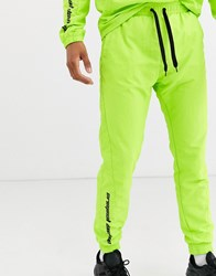 Criminal Damage Co Ord Nylon Joggers In Neon Green With Logo