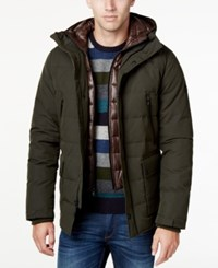 Michael Kors Men's Hooded Puffer Coat With Attached Bib Lodden Midnight