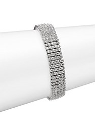 Saks Fifth Avenue Crystal Tennis Bracelet Rhodium