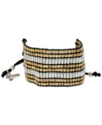 Kenneth Cole New York Two Tone Metallic Beaded Black Cord Adjustable Bracelet